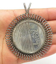 ISRAEL 925 Silver - Vintage Large Wire Looped Trim Medallion Pendant - P5940 - $107.62