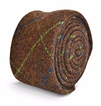 Frederick Thomas brown, green, blue check tweed tie FT3146 100% wool