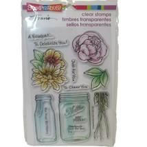 Flower Bouquet for You Clear Acrylic Stamp Set w/ Mason Jar & Milk Bottle NEW - $11.65