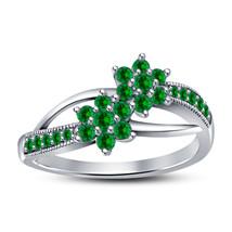 Double Flower Bypass Her Engagement Designer Ring 14k White Finish 925 S... - $71.99