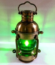 Antique Brass Lantern Electric Green Lamp Decorative Hanging Lantern Mar... - £92.48 GBP