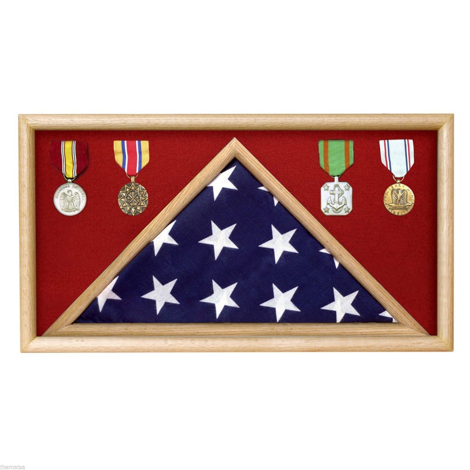 Primary image for USA MADE SOLID OAK WOOD MILITARY FLAG RECTANGLE  DISPLAY CASE SHADOW BOX