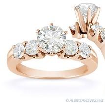 Forever Brilliant Round Cut Moissanite 5-Stone Engagement Ring in 14k Rose Gold - €769,46 EUR - €2.214,27 EUR