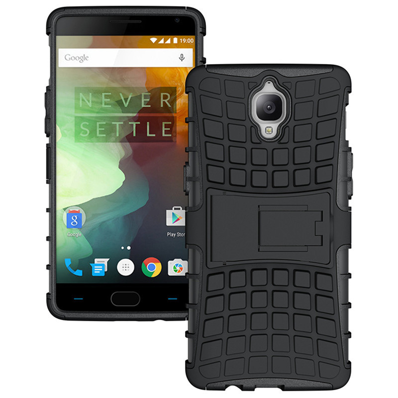 Id dual layer shockproof armor kickstand phone cover case for oneplus 3 black p20160704143024112