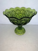 "Vintage Green LE Smith Glass Moon & Stars Crimped Compote 7"" - $22.50"