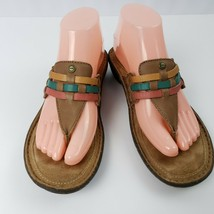 UGG Australia Jenaya Womens Thong Flip Flops Sz 7 Leather Multi Color Weave - $36.62