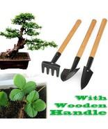 Mini Tools Set Gardening Garden Shovel Plant Spade Rake 3pcs Wooden Hand... - $9.99