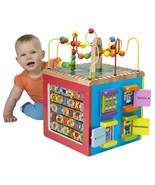 Baby Wooden Activity Cube Play Maze Educational Bead Center Toy 5 Sides ... - $97.32