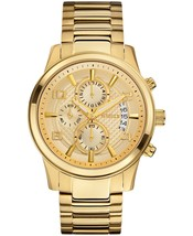 GUESS Men's U0075G5 Gold-tone Chronograph Watch With Date Function - £134.36 GBP