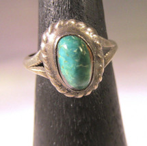 Turquoise Ring S Silver Vintage Tiny Size 5 NM Southwestern Rope Jewelry... - €83,01 EUR