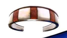 Gorgeous Unique Mother of Pearl and Pink Striped Cuff Vintage Bracelet - $22.49