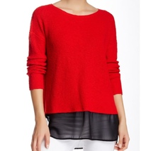 NWT Two by Vince Camuto Size XL Women's Red Chiffon Hem Knit Sweater - $39.00