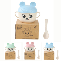 2 Sets Kid's Cartoon Dinner Bowl Spoon Set Unbreakable Wheat Straw Eco F... - $24.80