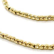 """18K YELLOW GOLD CHAIN FINELY WORKED SPHERES 1.5 MM DIAMOND CUT BALLS, 16"""", 40 CM image 2"""