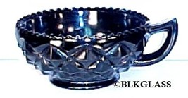 Imperial Glass Diamond Block Handled Nappy Bowl Black Glass - $18.99