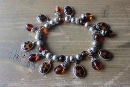 Vintage Faux Amber Cheetah Print Silver Stretch Bracelet 7 inches unstre... - $19.79