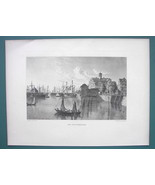 GERMANY Port of Hamburg Merchant Sailships - 1887 Steel Engraving by Cpt... - $11.10