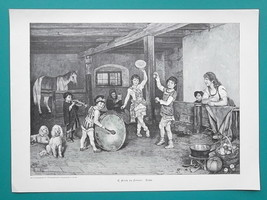 MUSIC BAND Children in Horse Stable Dogs Drum Trumpet - VICTORIAN Era Print - $19.80