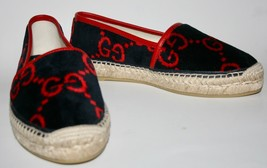 NIB Gucci GG Logo Monogram Velvet Espadrilles Size 37.5 US 7.5 Made in Spain - $346.50