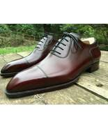 Trendy Two Tone Cap Toe Leather Lace Up Genuine Leather Hand Stitch Shoes - $158.99