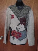 CROFT & BARROW Wool Blend SWEATER size Large Thick Warm Floral Knit - $19.75