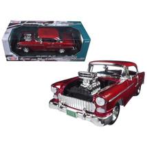 1955 Chevrolet Bel Air Burgundy With Blower Timeless Classics 1/18 Dieca... - $46.91