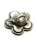 VTG Silver Tone Ladybird Beetle Ladybug On Flower Figurine Insect Paperweight  - $19.31