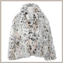 White Shaggy Long Sleeve Tuscan Spotted Leopard Cat Faux Fur Short Coat Jacket image 5