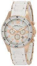 Marc Jacobs Unisex MBM2547 Rock Chronograph White Silicone Watch - $203.18