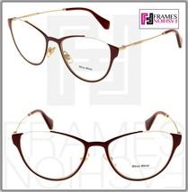 d29ec9f469aa Miu Miu Wink MU51OV Cat Eye Eyeglasses Rx Optical Frame Bordeaux Gold 53mm  51O - $147.51