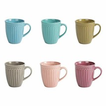 Porcelain Fluted Mugs - 13 Ounce for Coffee, Tea, Cocoa, Cold Assorted C... - $29.03