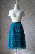 DEEP GREEN High Waist Knee Length Tiered Tulle Skirt Wedding Party Tulle Skirts image 2