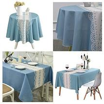 Blue Tablecloth Rectangle&Round Table Cover with Stripe for Dinning TkSh... - $27.72
