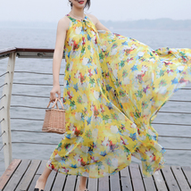 Sleeveless Plus Size Leopard Chiffon Dress Maxi Summer Beach Leopard Dresses image 7