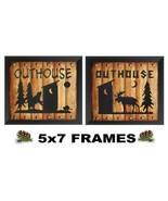 5x7 Rustic Outhouse Pictures Moose Bear Silhouette Lodge Log Wall Hangings - $8.99+