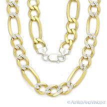 Sterling Silver 14k Yellow Gold GP Figaro 11mm Men's Italian Necklace .925 Italy - $266.10+