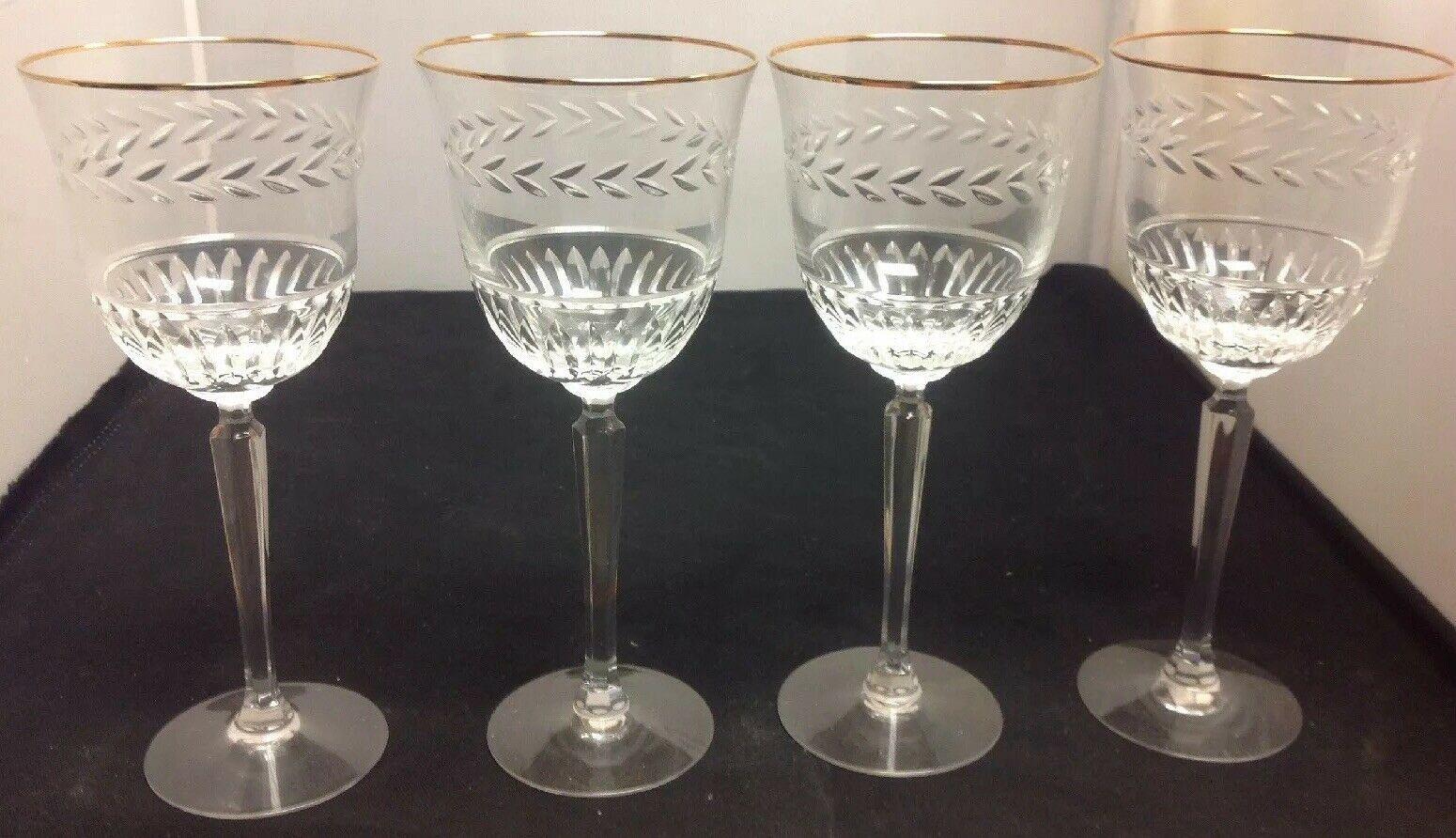 "Lenox Crystal CLASSIC LAUREL Set of 4 - 8"" Water Goblets (Gold Rim)"