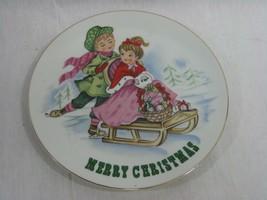 Vintage Lefton China Merry Christmas Plate Boy Ice Skating Pushing Girl on Sled - $12.16