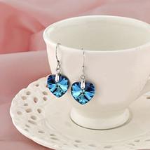Swarovski Crystal Blue Heart White Gold Plated Drop Dangle Hook Earrings - $14.46