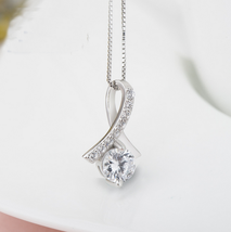 Fashion Women Sterling Silver Zircon Tear Pendant - $14.99