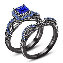 Princess Cut Blue Sapphire 925 Silver 14k Black GP Bridal Rings Set Free Shipp - $81.87