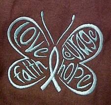 T Shirt Ovarian Cancer S Hope Courage Faith Teal Butterfly Brown S/S Uni... - $19.57