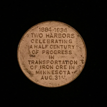 1934 Two Harbors, MN - Iron Ore 50 year anniversary - Gold Token image 2