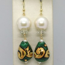Yellow Gold Earrings 750 18k Pearls Fw Drop Hand Painted Made in Italy image 1