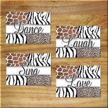 Leopard Zebra Giraffe Safari Wall Art Print Picture Quote Sing Dance Love Laugh - $13.99