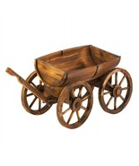 Old Country Wood Barrel Wagon Planter - $116.85