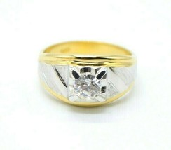 Signed 10K GF Men's Faux Diamond Clear Rhinestone Solitaire Ring Size 12.75 - $84.14
