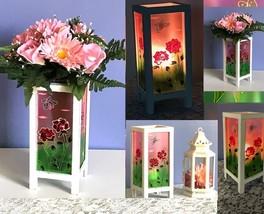1 Wood Candle Lantern Weathered White Pink Candleholder Wedding Centerpiece - $11.73