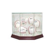 Glass Six (6) Baseball Display Case with Cherry Wood Molding (6-Ball) - $69.99