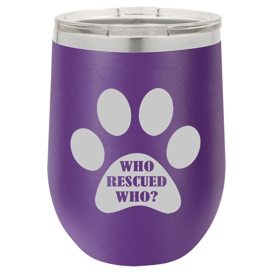 Primary image for Stemless Wine Tumbler Coffee Travel Mug Glass Paw Print Who Rescued Who